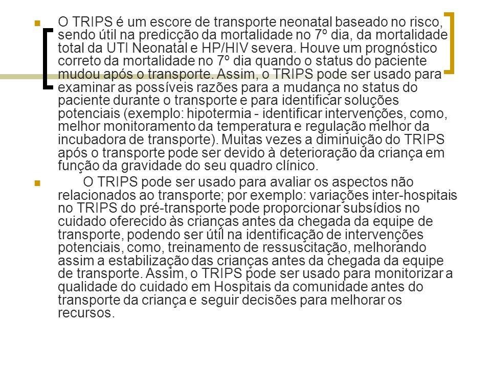 O TRIPS é um escore de transporte neonatal baseado no risco, sendo útil na predicção da mortalidade no 7º dia, da mortalidade total da UTI Neonatal e