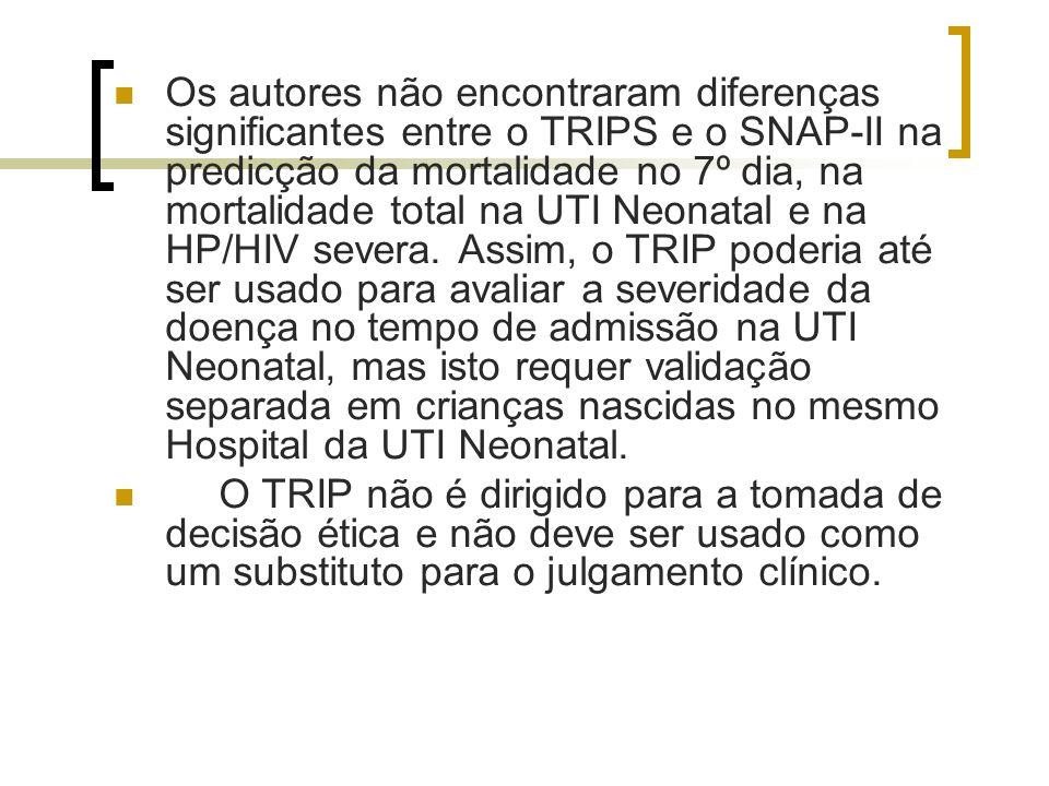 Os autores não encontraram diferenças significantes entre o TRIPS e o SNAP-II na predicção da mortalidade no 7º dia, na mortalidade total na UTI Neona
