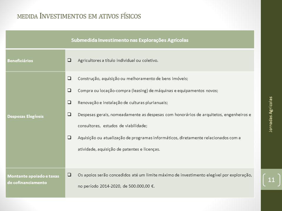 MEDIDA I NVESTIMENTOS EM ATIVOS FÍSICOS Submedida Investimento nas Explorações Agrícolas Beneficiários Agricultores a título individual ou coletivo. D