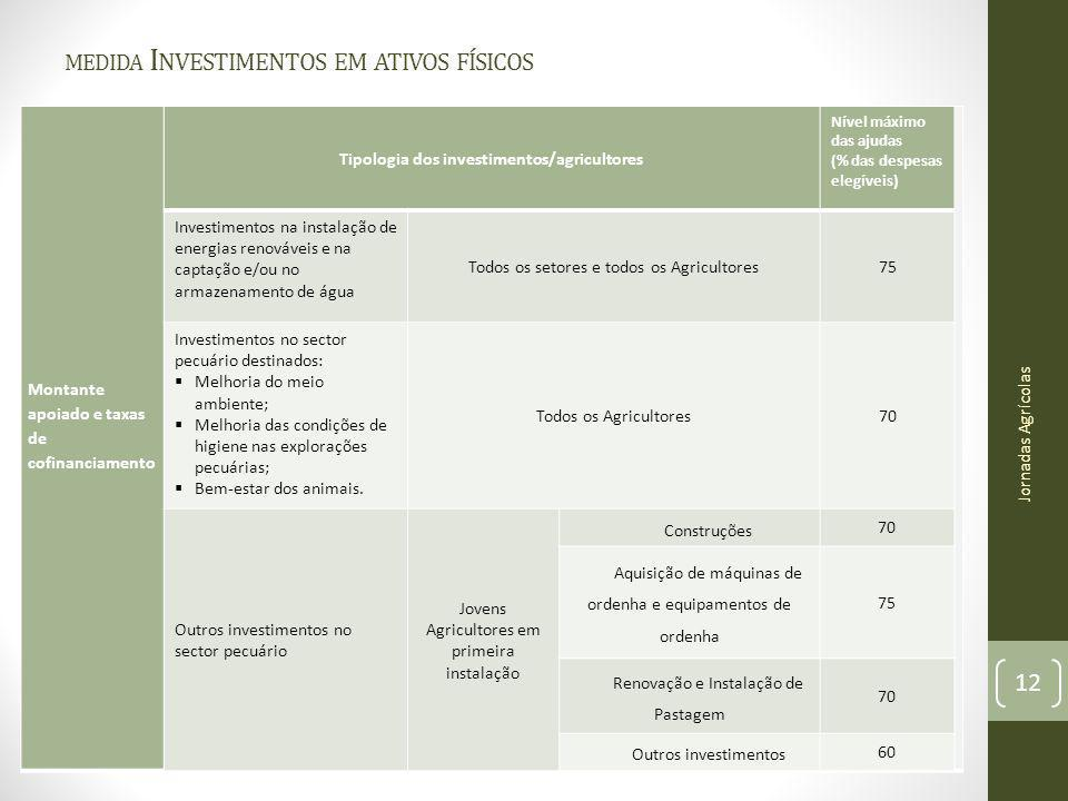 MEDIDA I NVESTIMENTOS EM ATIVOS FÍSICOS Montante apoiado e taxas de cofinanciamento Jornadas Agrícolas 12 Tipologia dos investimentos/agricultores Nív