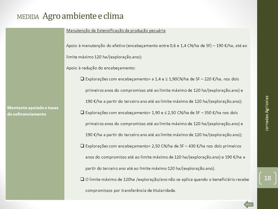 MEDIDA Agro ambiente e clima Montante apoiado e taxas de cofinanciamento Manutenção da Extensificação da produção pecuária Apoio à manutenção do efeti