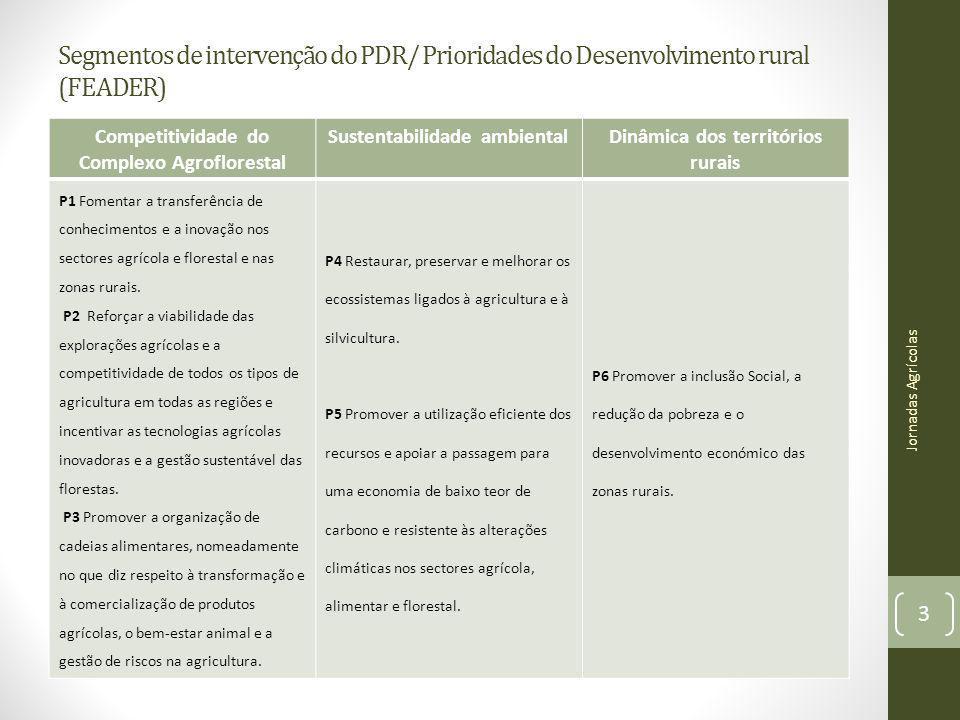 Segmentos de intervenção do PDR/ Prioridades do Desenvolvimento rural (FEADER) Competitividade do Complexo Agroflorestal Sustentabilidade ambientalDin