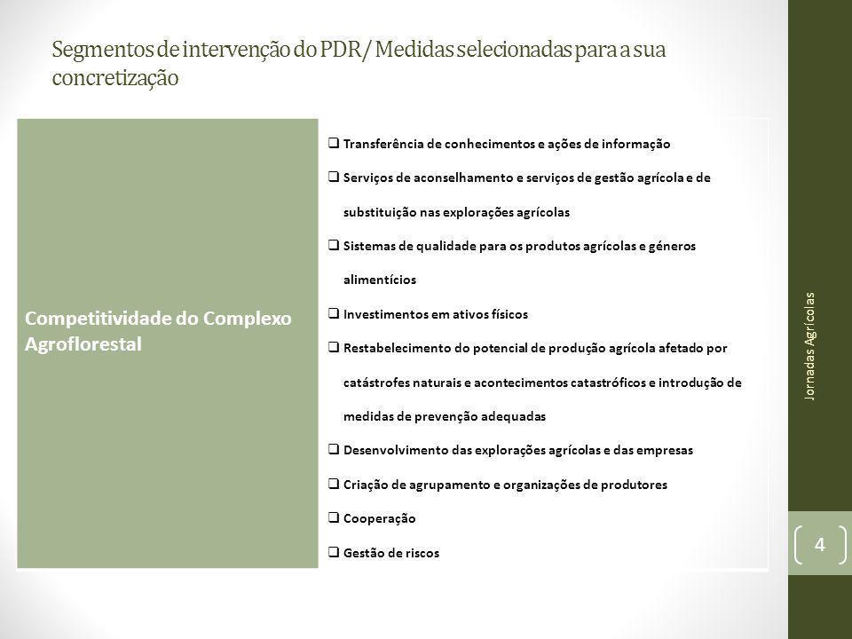 Segmentos de intervenção do PDR/ Medidas selecionadas para a sua concretização Jornadas Agrícolas 4 Competitividade do Complexo Agroflorestal Transfer