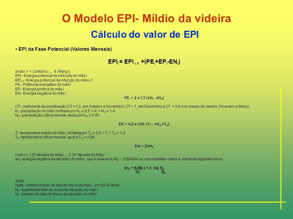 O Modelo EPI- Míldio da videira Estrutura do Modelo EPI-Míldio Segundo o modelo, o ciclo de comportamento epidémico do fungo estende-se desde o mês de