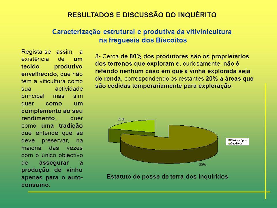 2- Apenas 8% dos inquiridos sempre desenvolveu como a sua única actividade a viticultura, 70% têm outras actividades que não a agricultura, os restant