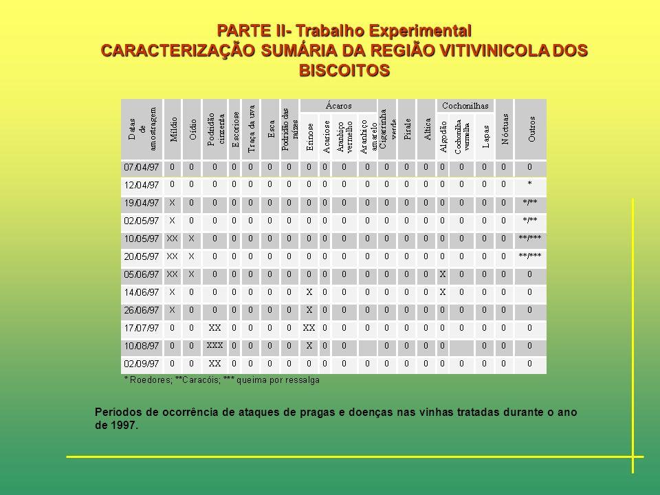 PARTE II- Trabalho Experimental CARACTERIZAÇÃO SUMÁRIA DA REGIÃO VITIVINICOLA DOS BISCOITOS Durante o período de estudo deste trabalho, em 1997, foram
