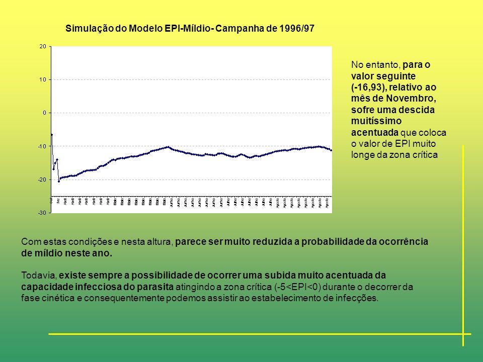 APLICAÇÃO DO MODELO EPI-MÍLDIO DA VIDEIRA À REGIÃO VITIVINÍCOLA DOS BISCOITOS Simulação do Modelo EPI-Míldio- Campanha de 1996/97 Simulação do comport