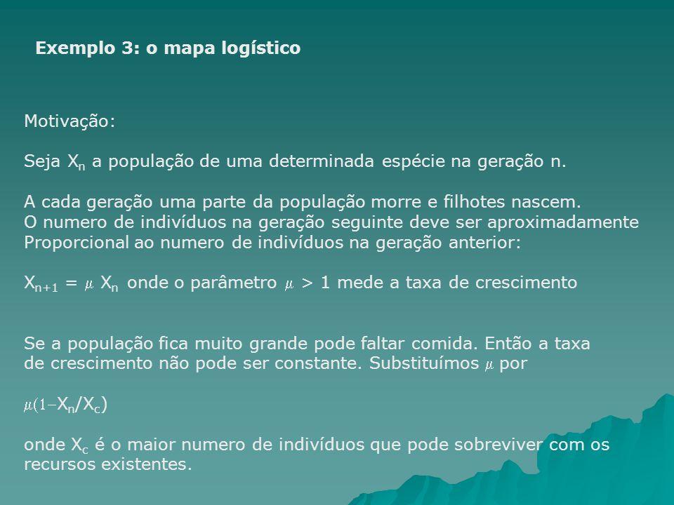Exemplo 3: o mapa logístico Motivação: Seja X n a população de uma determinada espécie na geração n. A cada geração uma parte da população morre e fil