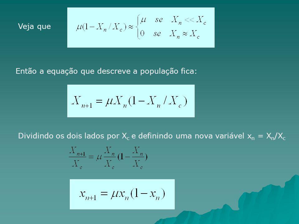 Veja que Então a equação que descreve a população fica: Dividindo os dois lados por X c e definindo uma nova variável x n = X n /X c