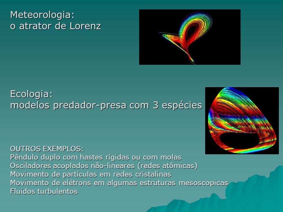 Meteorologia: o atrator de Lorenz Ecologia: modelos predador-presa com 3 espécies OUTROS EXEMPLOS: Pêndulo duplo com hastes rígidas ou com molas Osciladores acoplados não-lineares (redes atômicas) Movimento de partículas em redes cristalinas Movimento de elétrons em algumas estruturas mesoscopicas Fluidos turbulentos