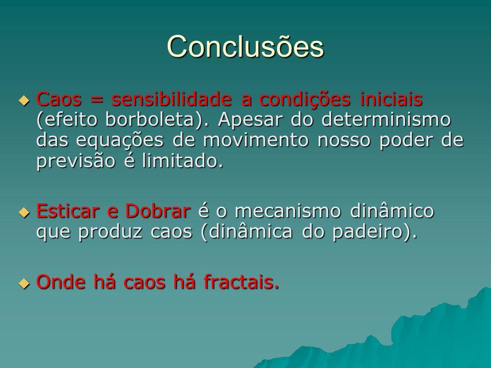 Conclusões Caos = sensibilidade a condições iniciais (efeito borboleta). Apesar do determinismo das equações de movimento nosso poder de previsão é li