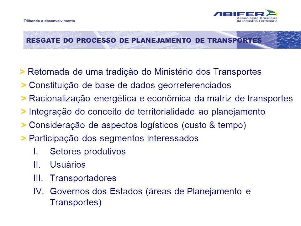 RESGATE DO PROCESSO DE PLANEJAMENTO DE TRANSPORTES > Retomada de uma tradição do Ministério dos Transportes > Constituição de base de dados georrefere