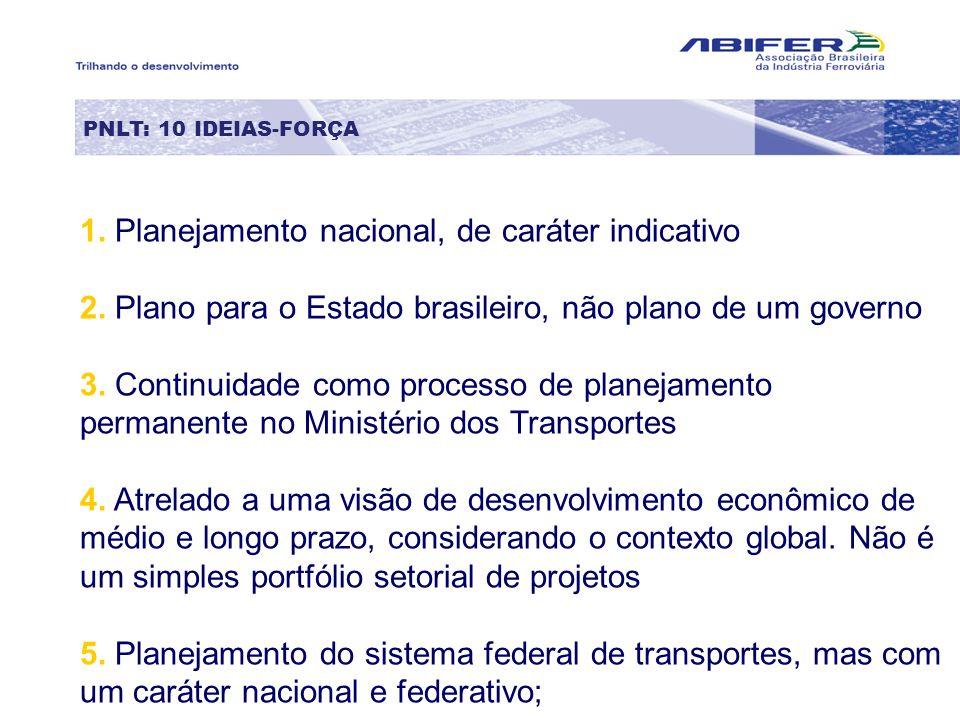 PNLT: 10 IDEIAS-FORÇA 1.1. Planejamento nacional, de caráter indicativo 2.2. Plano para o Estado brasileiro, não plano de um governo 3.3. Continuidade