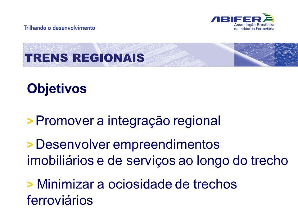TRENS REGIONAIS Objetivos > Promover a integração regional > Desenvolver empreendimentos imobiliários e de serviços ao longo do trecho > Minimizar a o