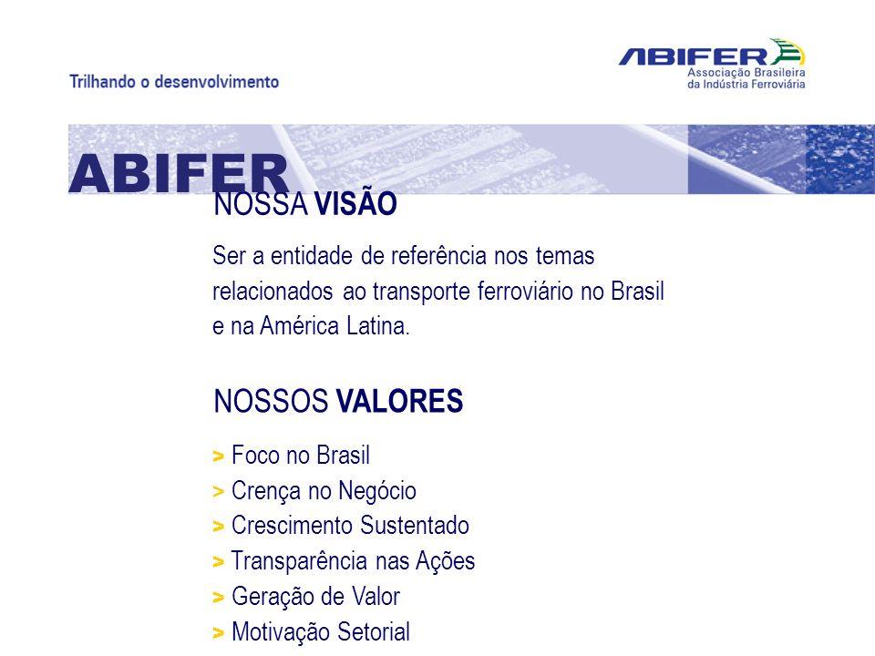 NOSSA VISÃO ABIFER Ser a entidade de referência nos temas relacionados ao transporte ferroviário no Brasil e na América Latina. NOSSOS VALORES > Foco