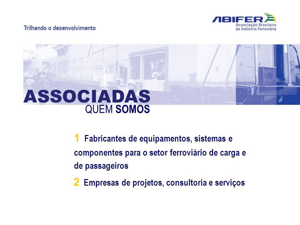 1 Fabricantes de equipamentos, sistemas e componentes para o setor ferroviário de carga e de passageiros 2 Empresas de projetos, consultoria e serviço