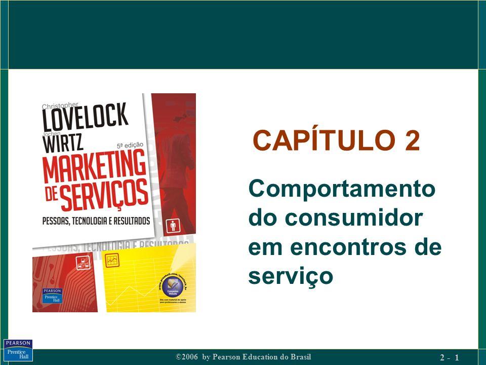 ©2006 by Pearson Education do Brasil 2 - 1 CAPÍTULO 2 Comportamento do consumidor em encontros de serviço