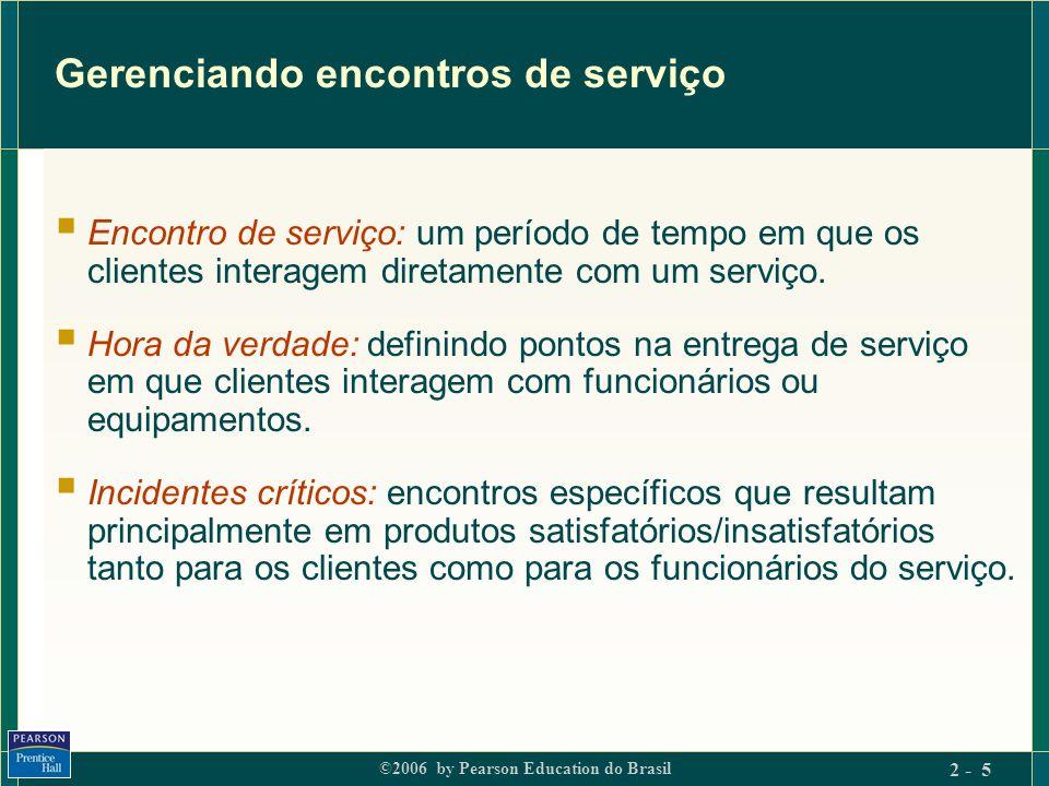 ©2006 by Pearson Education do Brasil 2 - 5 Gerenciando encontros de serviço Encontro de serviço: um período de tempo em que os clientes interagem dire