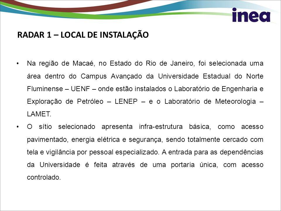 RADAR 1 – LOCAL DE INSTALAÇÃO Na região de Macaé, no Estado do Rio de Janeiro, foi selecionada uma área dentro do Campus Avançado da Universidade Esta
