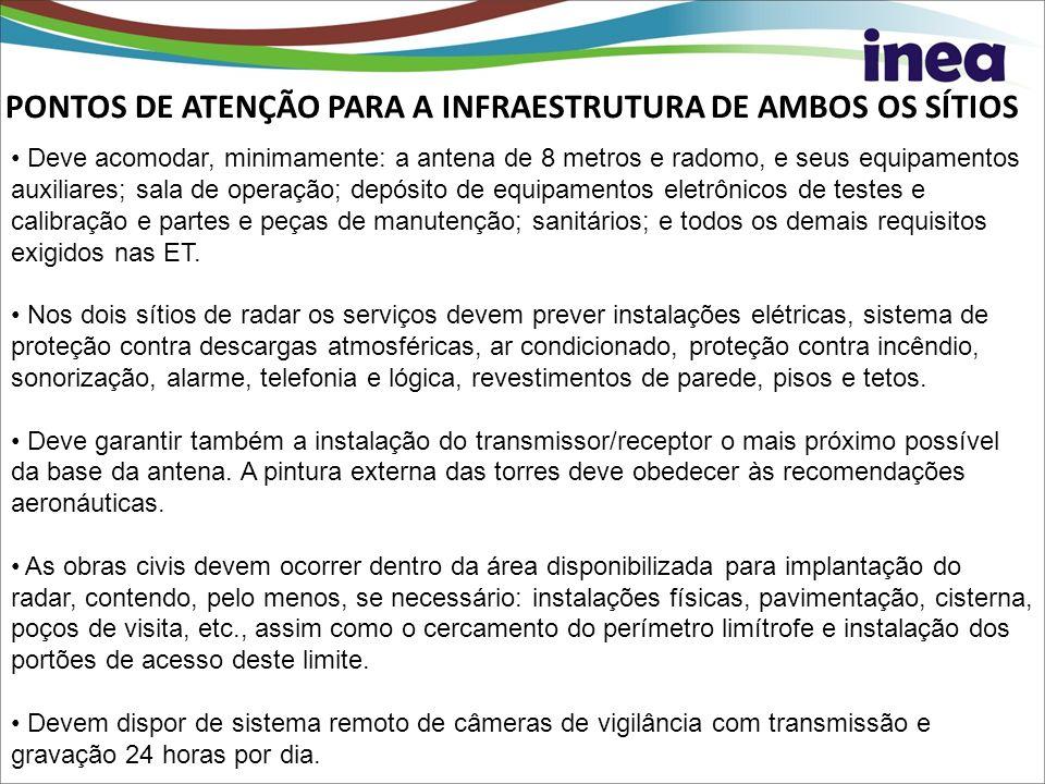 PONTOS DE ATENÇÃO PARA A INFRAESTRUTURA DE AMBOS OS SÍTIOS Deve acomodar, minimamente: a antena de 8 metros e radomo, e seus equipamentos auxiliares;