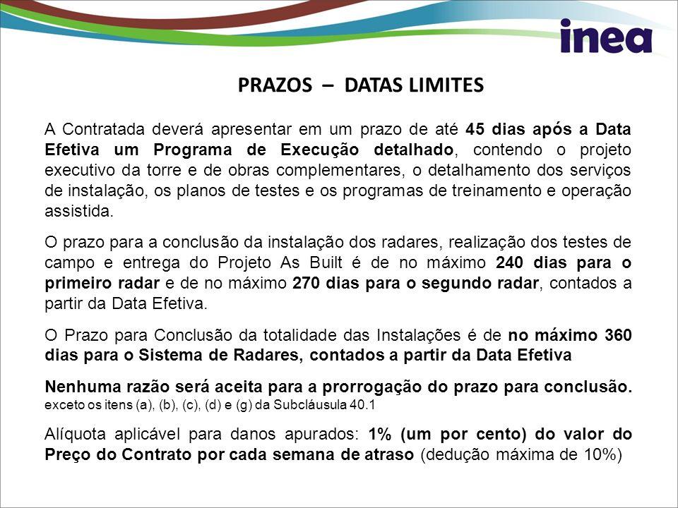 PRAZOS – DATAS LIMITES A Contratada deverá apresentar em um prazo de até 45 dias após a Data Efetiva um Programa de Execução detalhado, contendo o pro