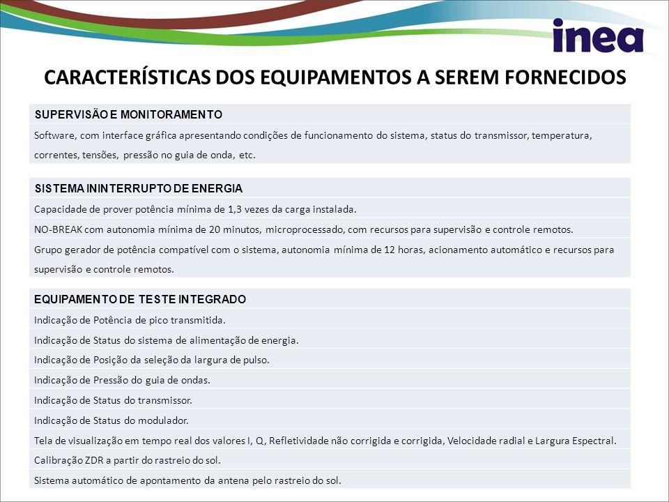 SUPERVISÃO E MONITORAMENTO Software, com interface gráfica apresentando condições de funcionamento do sistema, status do transmissor, temperatura, cor