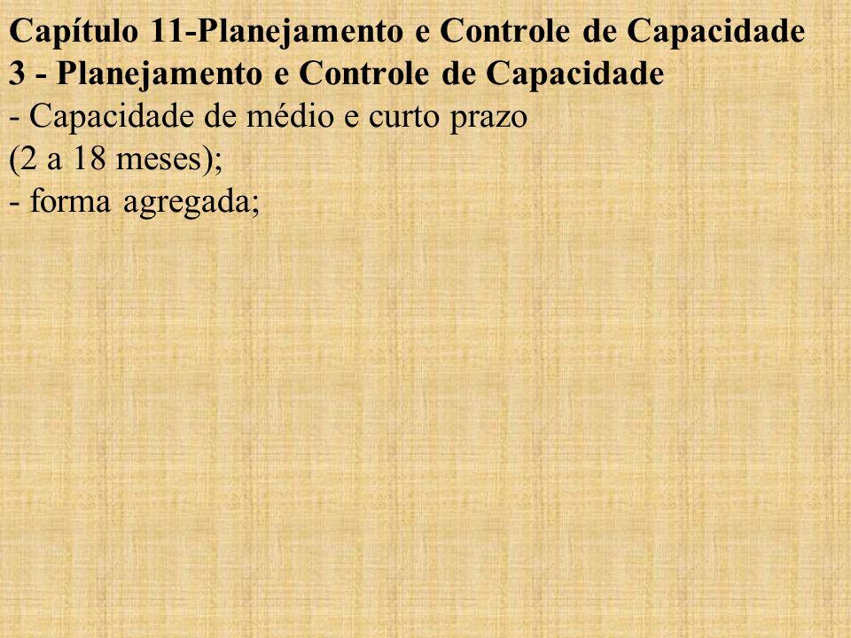 Capítulo 11-Planejamento e Controle de Capacidade 3 - Planejamento e Controle de Capacidade - Capacidade de médio e curto prazo (2 a 18 meses); - form