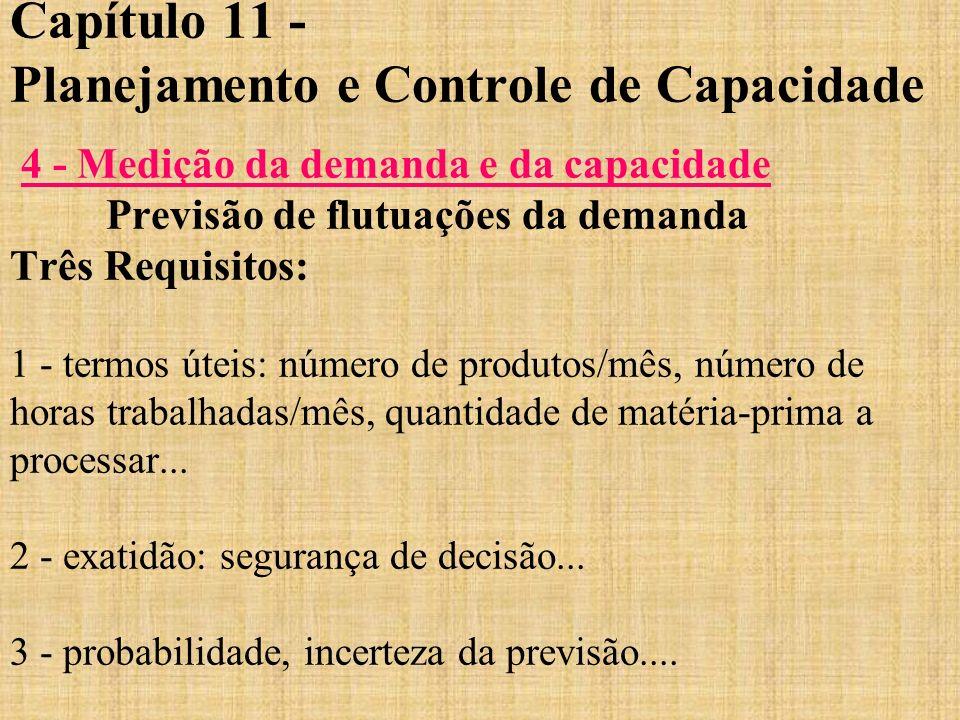 Capítulo 11 - Planejamento e Controle de Capacidade 4 - Medição da demanda e da capacidade Previsão de flutuações da demanda Três Requisitos: 1 - term