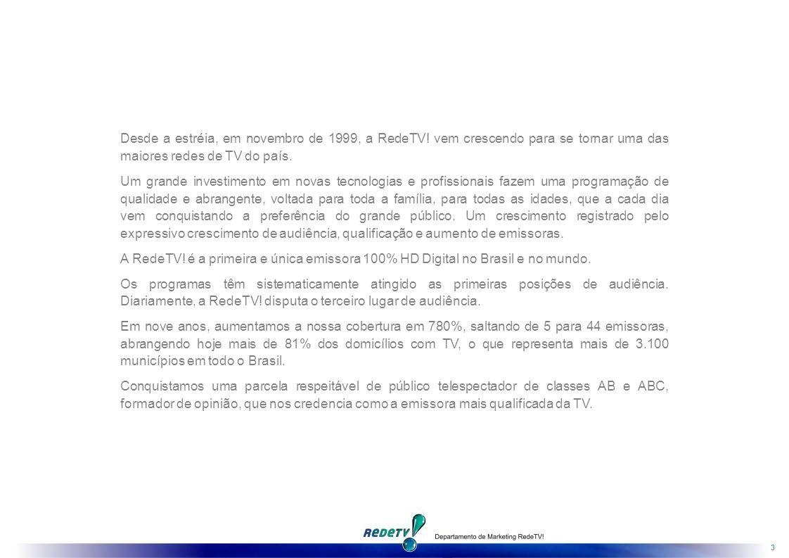 3 Desde a estréia, em novembro de 1999, a RedeTV.