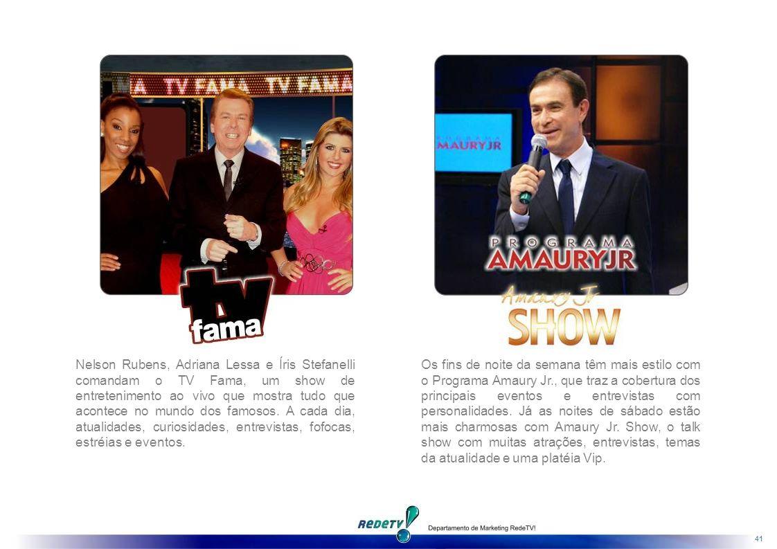 41 Nelson Rubens, Adriana Lessa e Íris Stefanelli comandam o TV Fama, um show de entretenimento ao vivo que mostra tudo que acontece no mundo dos famosos.