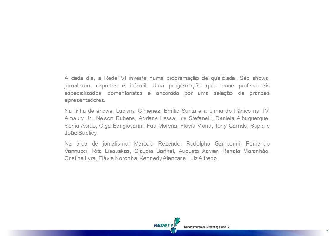 7 A cada dia, a RedeTV.investe numa programação de qualidade.