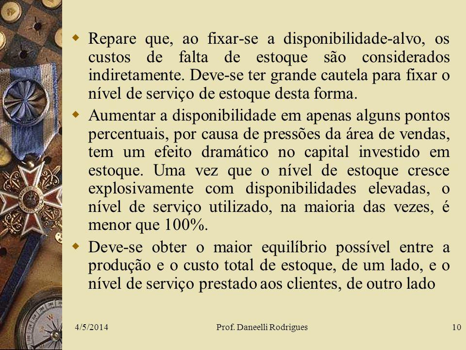 4/5/2014Prof. Daneelli Rodrigues10 Repare que, ao fixar-se a disponibilidade-alvo, os custos de falta de estoque são considerados indiretamente. Deve-