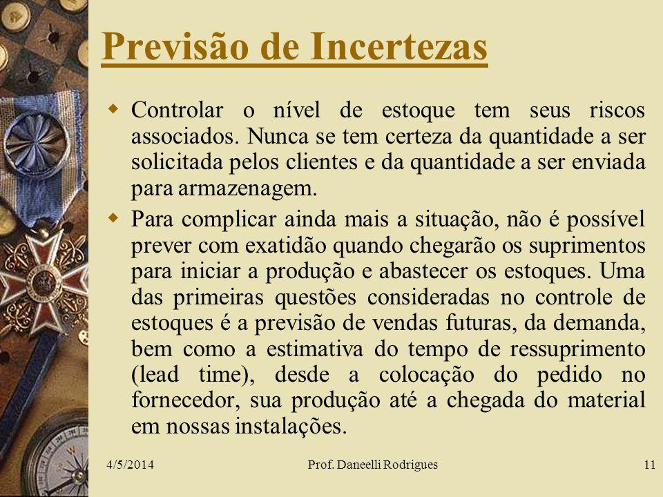 4/5/2014Prof. Daneelli Rodrigues11 Previsão de Incertezas Controlar o nível de estoque tem seus riscos associados. Nunca se tem certeza da quantidade