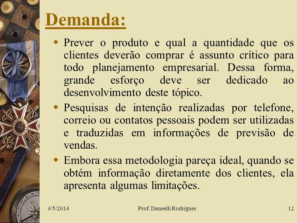 4/5/2014Prof. Daneelli Rodrigues12 Demanda: Prever o produto e qual a quantidade que os clientes deverão comprar é assunto crítico para todo planejame