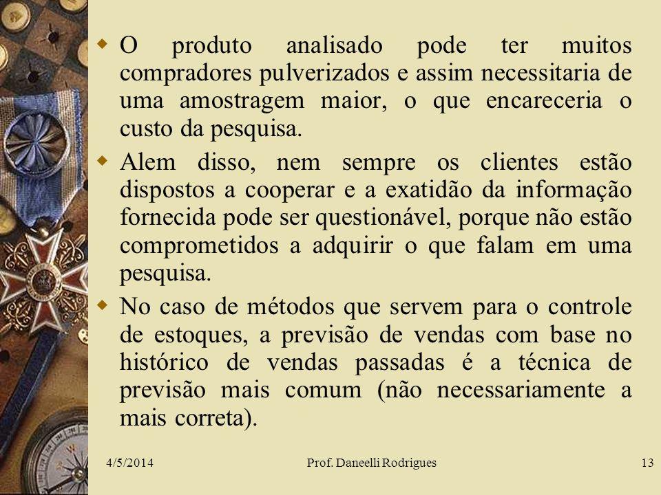 4/5/2014Prof. Daneelli Rodrigues13 O produto analisado pode ter muitos compradores pulverizados e assim necessitaria de uma amostragem maior, o que en