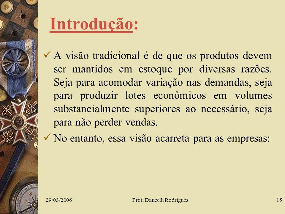29/03/2006Prof. Daneelli Rodrigues15 Introdução: A visão tradicional é de que os produtos devem ser mantidos em estoque por diversas razões. Seja para