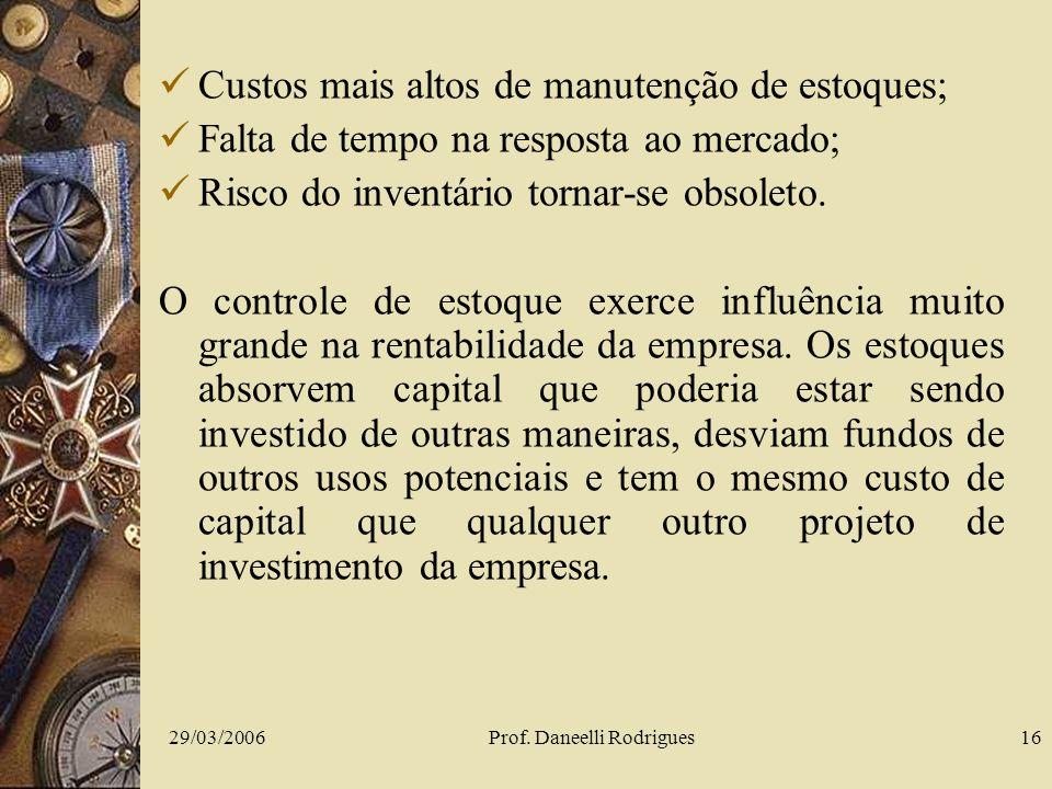 29/03/2006Prof. Daneelli Rodrigues16 Custos mais altos de manutenção de estoques; Falta de tempo na resposta ao mercado; Risco do inventário tornar-se