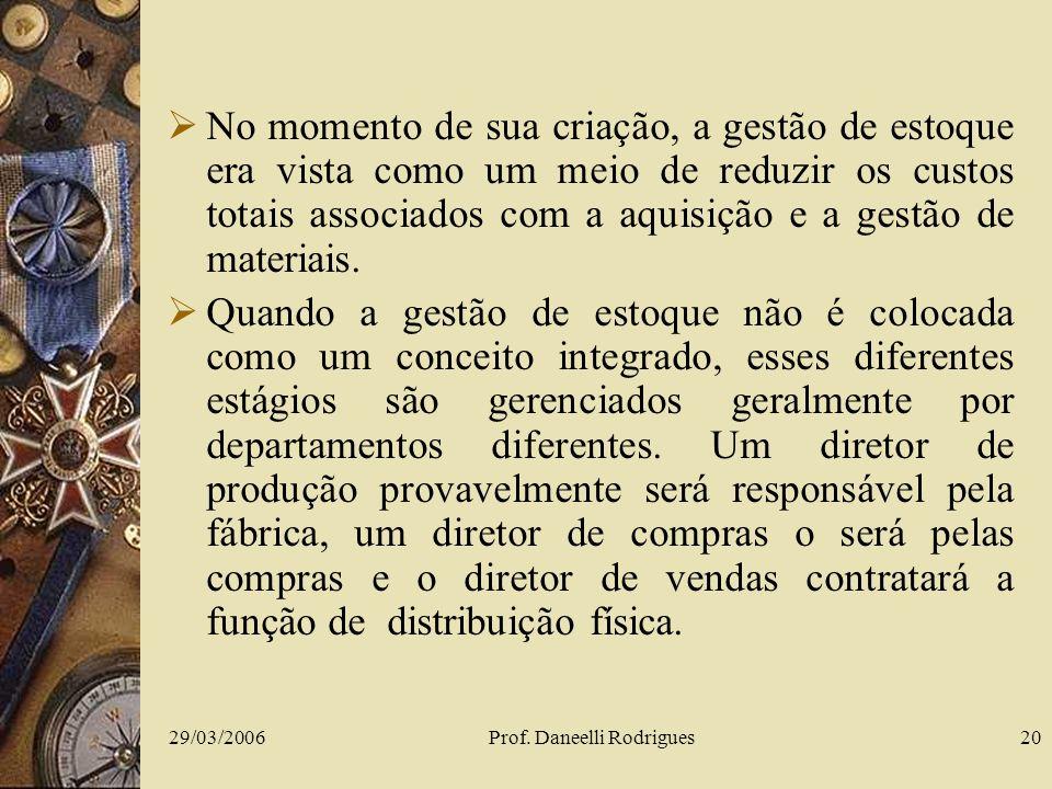 29/03/2006Prof. Daneelli Rodrigues20 No momento de sua criação, a gestão de estoque era vista como um meio de reduzir os custos totais associados com