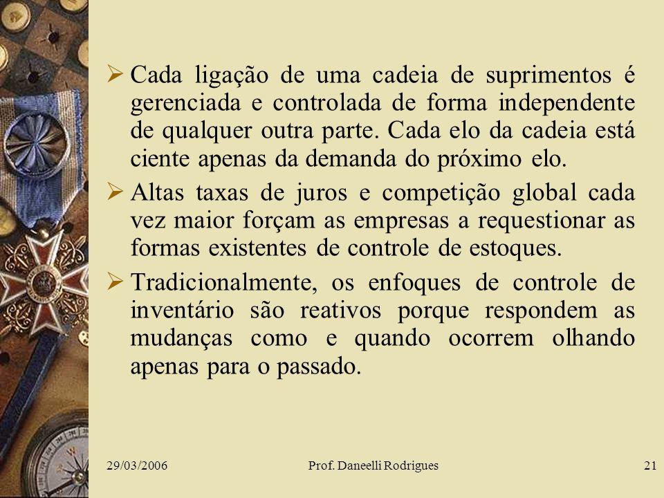 29/03/2006Prof. Daneelli Rodrigues21 Cada ligação de uma cadeia de suprimentos é gerenciada e controlada de forma independente de qualquer outra parte