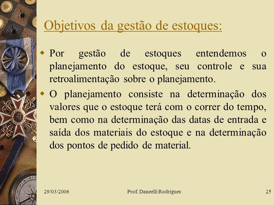 29/03/2006Prof. Daneelli Rodrigues25 Objetivos da gestão de estoques: Por gestão de estoques entendemos o planejamento do estoque, seu controle e sua