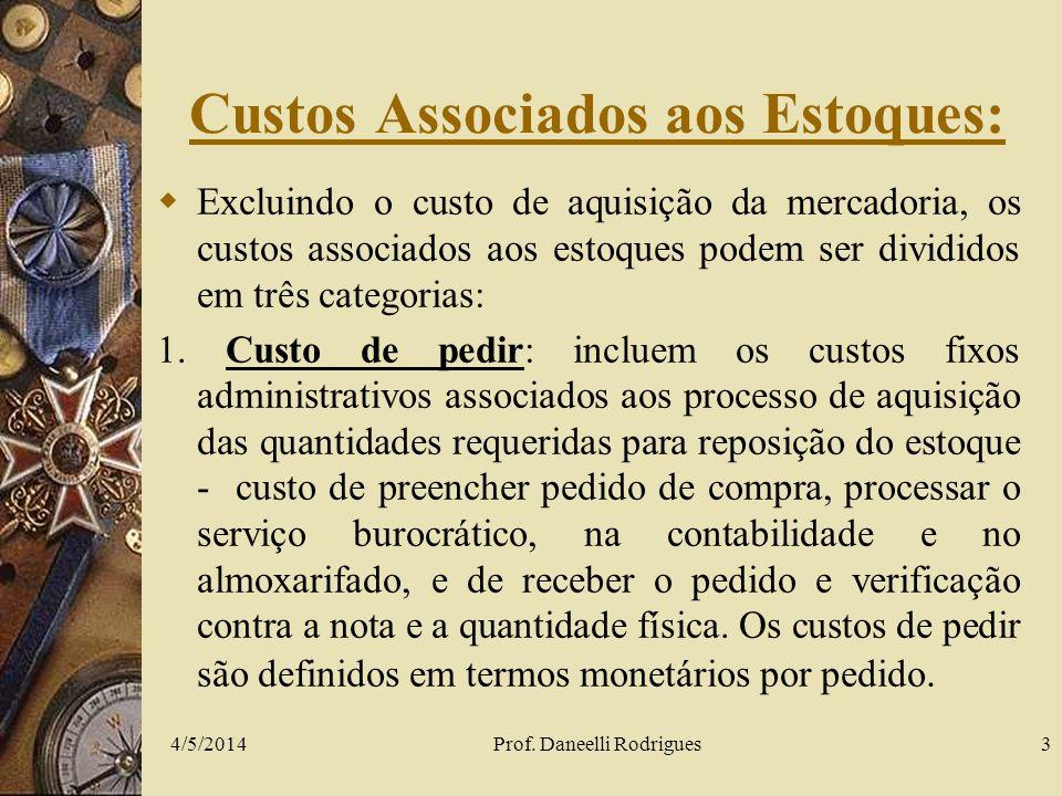4/5/2014Prof. Daneelli Rodrigues3 Custos Associados aos Estoques: Excluindo o custo de aquisição da mercadoria, os custos associados aos estoques pode
