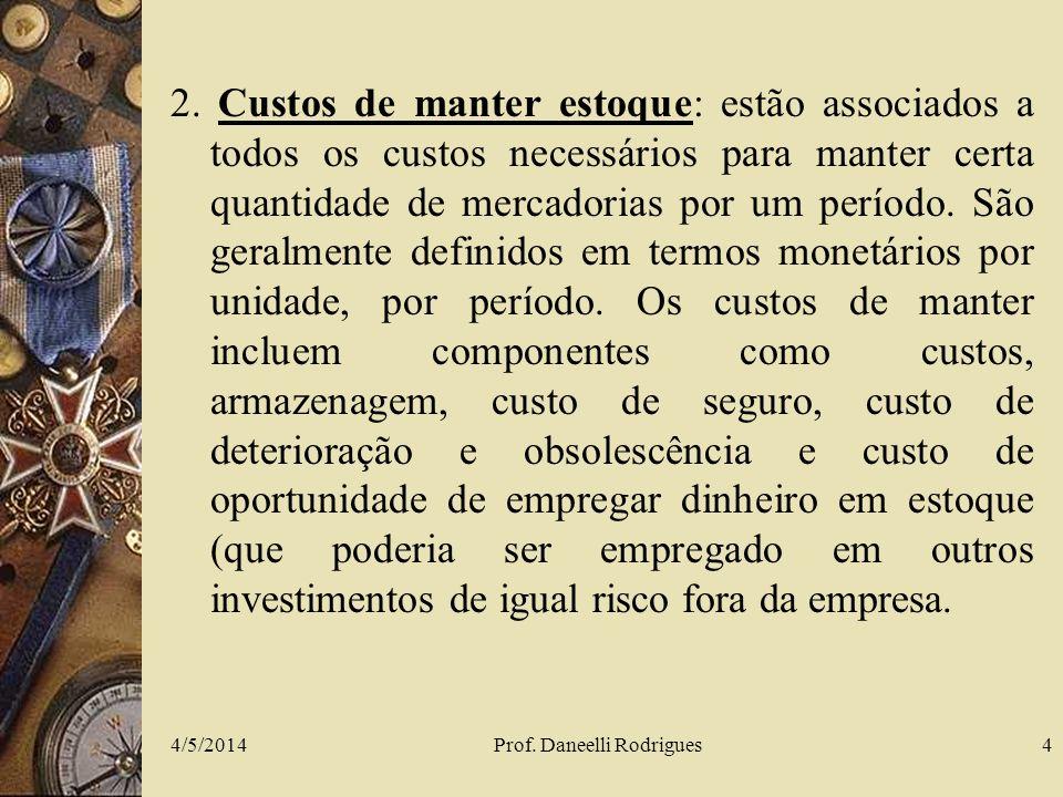 4/5/2014Prof. Daneelli Rodrigues4 2. Custos de manter estoque: estão associados a todos os custos necessários para manter certa quantidade de mercador