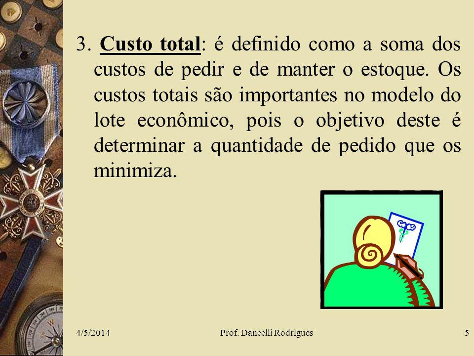 4/5/2014Prof. Daneelli Rodrigues5 3. Custo total: é definido como a soma dos custos de pedir e de manter o estoque. Os custos totais são importantes n