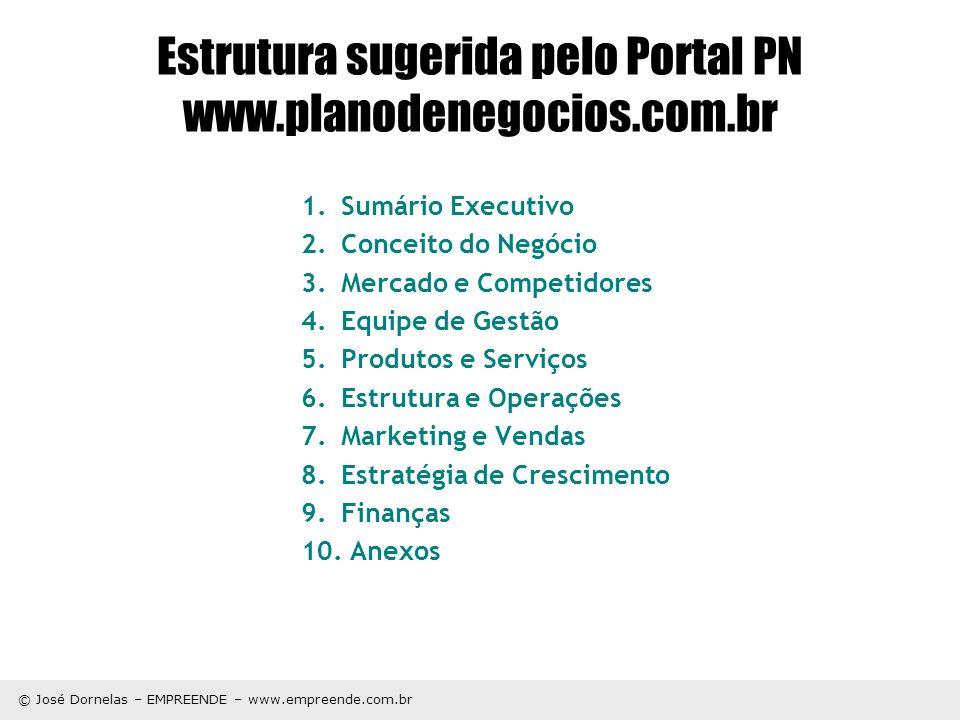 © José Dornelas – EMPREENDE – www.empreende.com.br Estrutura sugerida pelo Portal PN www.planodenegocios.com.br 1.Sumário Executivo 2.Conceito do Negó