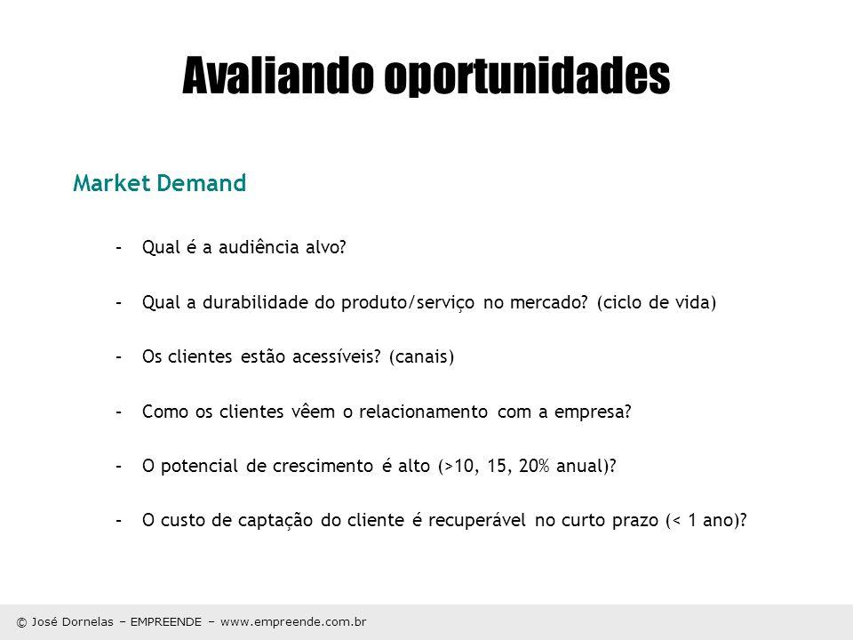 © José Dornelas – EMPREENDE – www.empreende.com.br Avaliando oportunidades Market Demand –Qual é a audiência alvo? –Qual a durabilidade do produto/ser