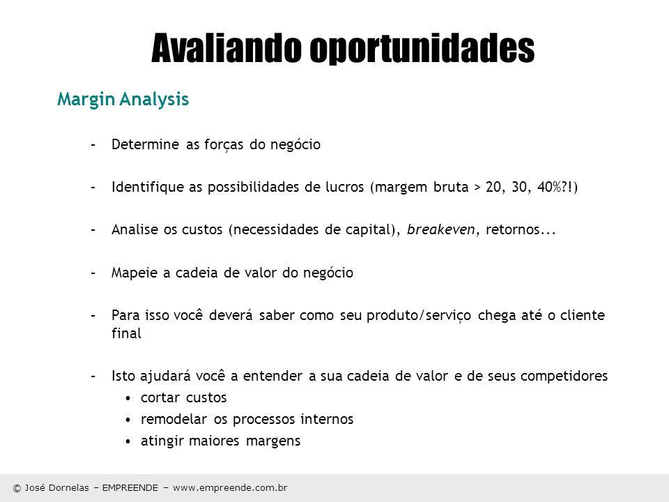 © José Dornelas – EMPREENDE – www.empreende.com.br Avaliando oportunidades Margin Analysis –Determine as forças do negócio –Identifique as possibilida