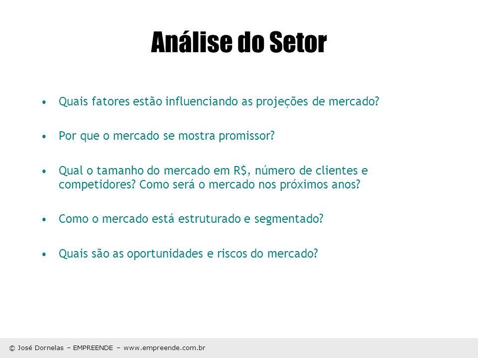 © José Dornelas – EMPREENDE – www.empreende.com.br Análise do Setor Quais fatores estão influenciando as projeções de mercado? Por que o mercado se mo
