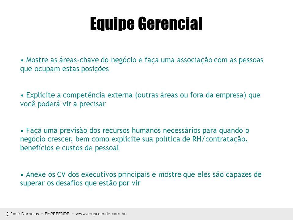 © José Dornelas – EMPREENDE – www.empreende.com.br Mostre as áreas-chave do negócio e faça uma associação com as pessoas que ocupam estas posições Exp