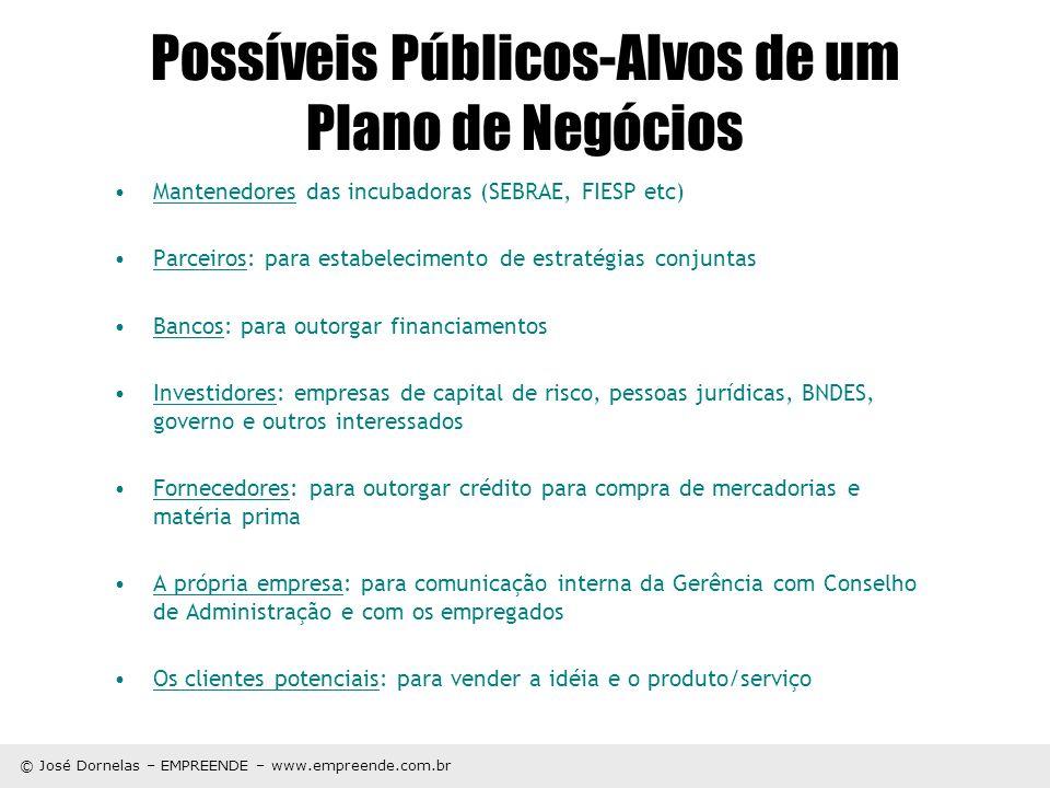 © José Dornelas – EMPREENDE – www.empreende.com.br Possíveis Públicos-Alvos de um Plano de Negócios Mantenedores das incubadoras (SEBRAE, FIESP etc) P