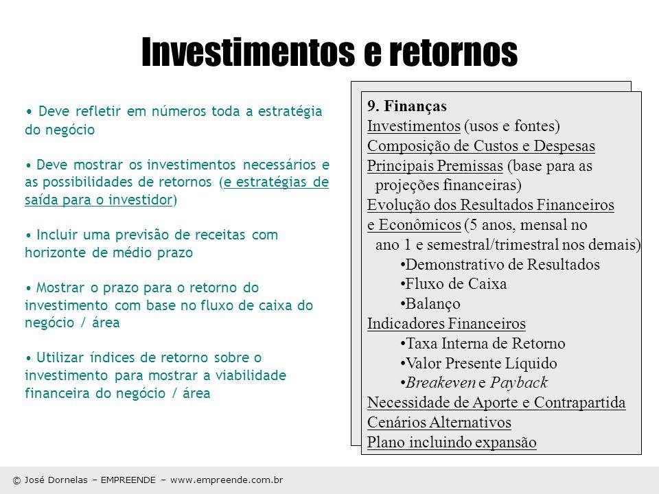 © José Dornelas – EMPREENDE – www.empreende.com.br Investimentos e retornos Deve refletir em números toda a estratégia do negócio Deve mostrar os inve